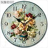 Cheap Buggy Round Decorative Wall Clock-Shabby Chic Floral Patchwork Clock – Vintage Wall Clocks for Living Room, Bedroom and Kitchen – Multi-Coloured Cute Retro Style Clock Wall ,12 inches 30CM
