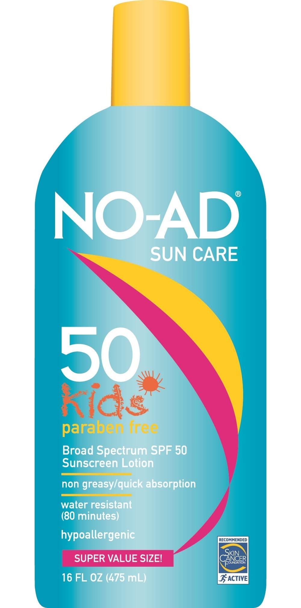 No-ad Kids Gentle SPF 50 Sunblock Lotion, 16 Oz (Pack of 4)