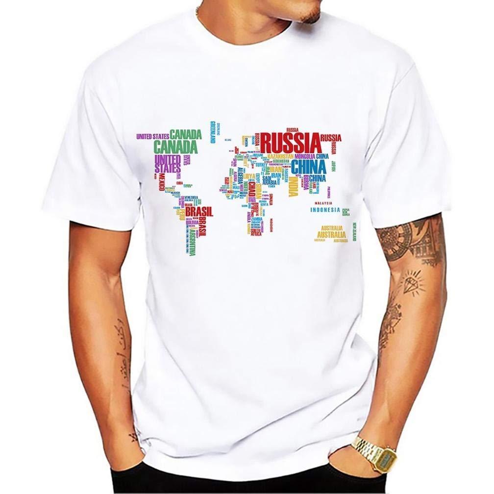 Creativo Parola Nube Mappa S Printing S Funny Short Sleeves Shirts