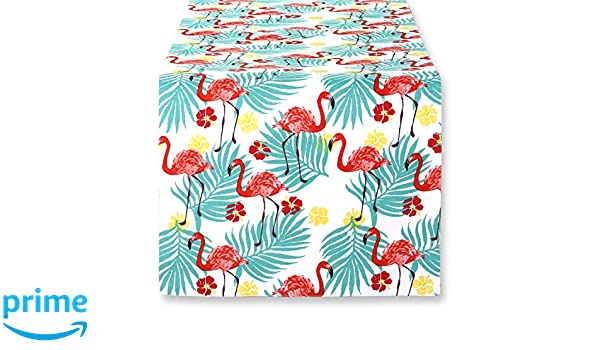 """Flamingos Palm Fronds Quilted Reversible 51/"""" Isla Tropics Table Runner by C/&F"""