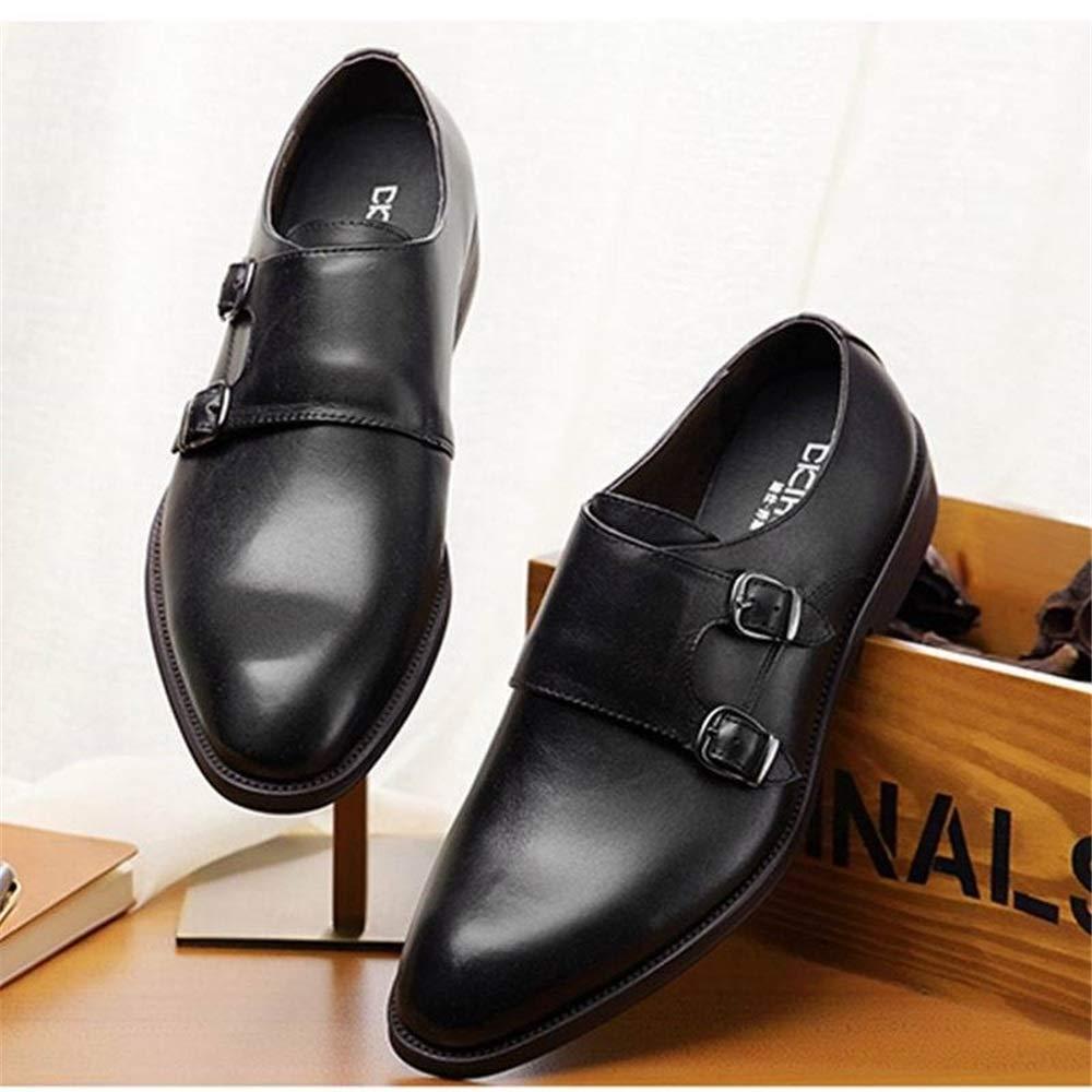 d100be67be9175 ... Fuxitoggo Fuxitoggo Fuxitoggo Mens Buckle Monk Schuhe Slip on poliert  Patent Echtem Leder Freizeitschuhe (Farbe