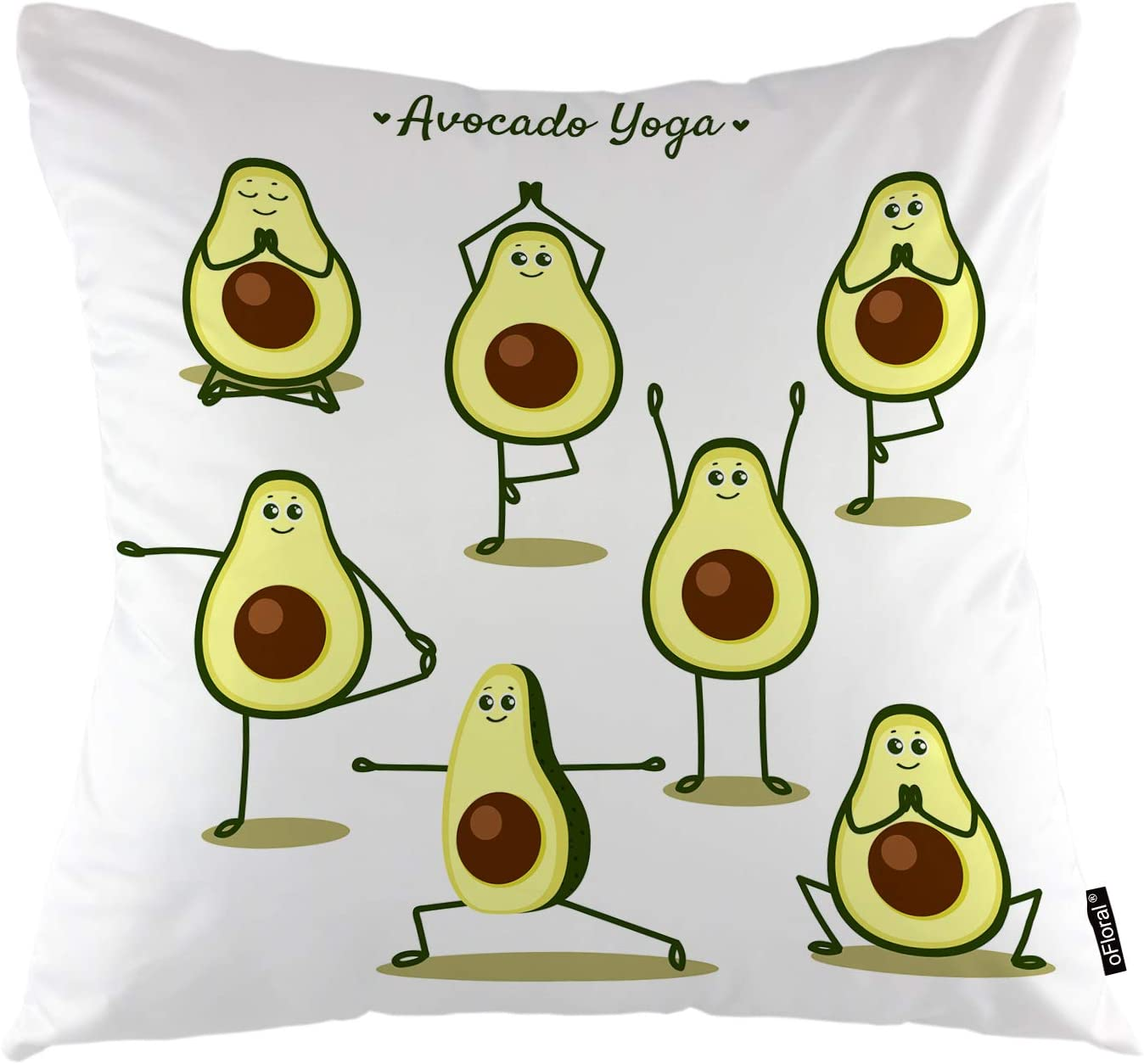 "oFloral Avocado Throw Pillow Covers Cartoon Avocado Doing Yoga Poses and Fruits Decorative Square Pillow Case 18""X18"" Pillowcase Home Decor for for Sofa Bedroom Livingroom"