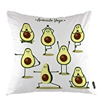 oFloral Avocado Throw Pillow Covers Cartoon Avocado Doing Yoga Poses and Fruits Decorative Square Pillow Case 18