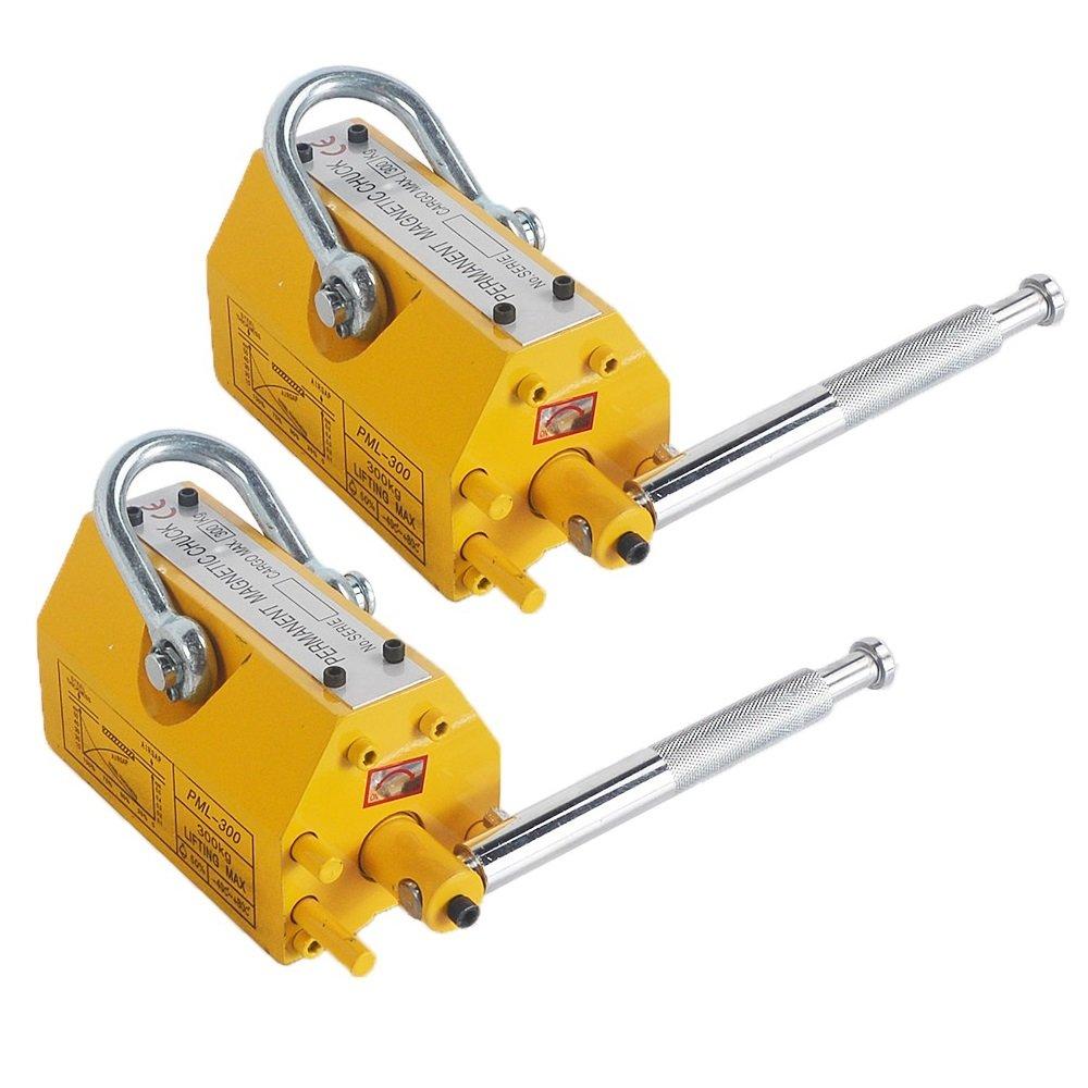 CO-Z 2PCS Lifting Magnet Steel Magnetic Lifter Hoist Crane - 660LBS/300KG
