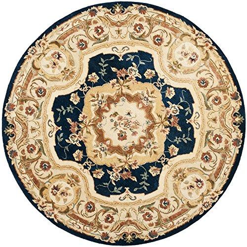 Safavieh Empire Collection EM824B Handmade Traditional European Navy and Beige Premium Wool Round Area Rug (6' Diameter)