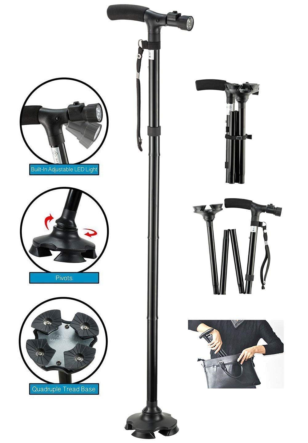 Folding Cane Walking Stick LED Flashlights Dependable Adjustable Height Lightweight Non Slip for Women Men by AIWAYING