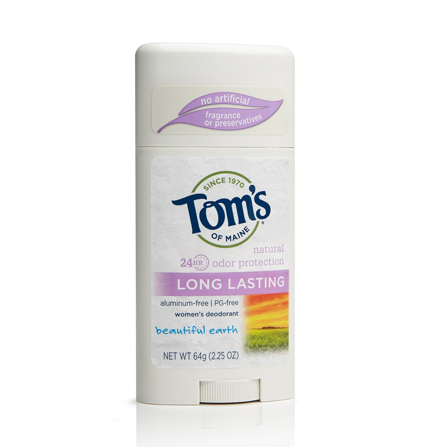 Tom's of Maine 683625 Long-Lasting Women's Deodorant Stick, Beautiful Earth, 2.25 Ounce, 18 Count