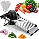 Adjustable Mandoline Slicer with Free Cut-Resistant Gloves and Brushes Stainless Steel Slicer Vegetable