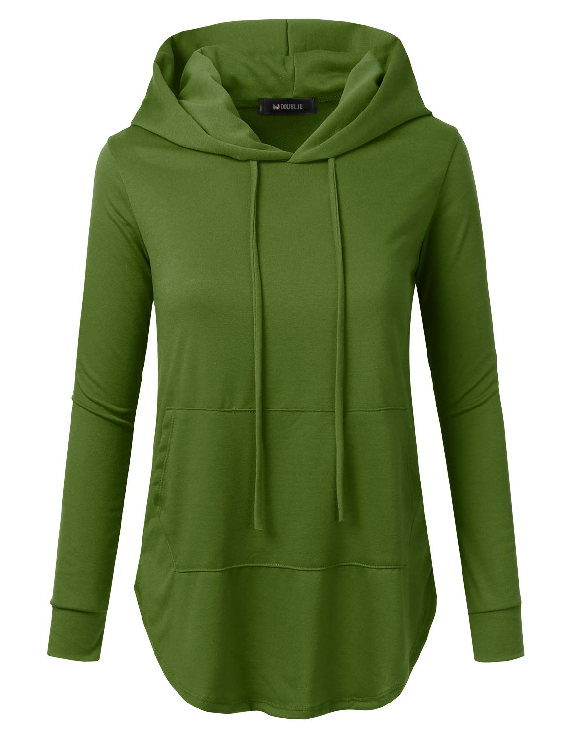 Doublju Loose Fit Pullover Hoodie with Kangaroo Pocket for Womens with Plus Size (Made in USA) Green Medium
