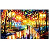 Canvas Painting - Down The Park - Modern Art - Palete Knife Art - Leonid Afremov Unframed Painting (Size : 12 x 18 Inch)
