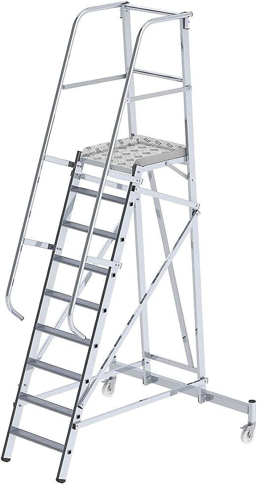 eurokraft plataforma en aluminio – mobile 8 peldaños – escalera – escalera de peldaños escabeaux escabeaux con peldaños Taburete escalones plataforma plataforma móvil plataformas plataformas móvil escala Escala Aluminio escaleras escaleras: Amazon.es: