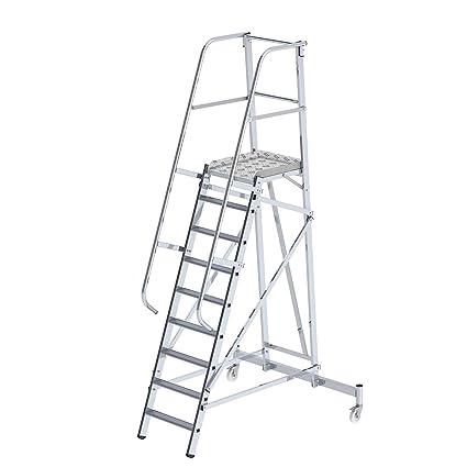 eurokraft plataforma en aluminio - mobile 9 peldaños - escalera - escalera de peldaños escabeaux escabeaux con peldaños Taburete escalones plataforma plataforma móvil plataformas plataformas móvil escala Escala Aluminio escaleras escaleras: Amazon.es:
