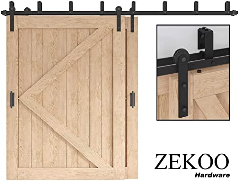 Amazon Com Zekoo 5 16 Ft Bypass Barn Door Hardware Double Door Kit Rustic Black Steel Metal Rail Roller Set Low Ceiling Bracket 12 Ft New Style Bypass Kit Home Improvement