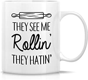 Retreez Funny Mug - They See Me Rollin' They Hatin' Food Lover Chef Baker 11 Oz Ceramic Coffee Mugs - Funny, Sarcasm, Inspirational, Kitchen, birthday gifts for friends, coworkers, mother, father