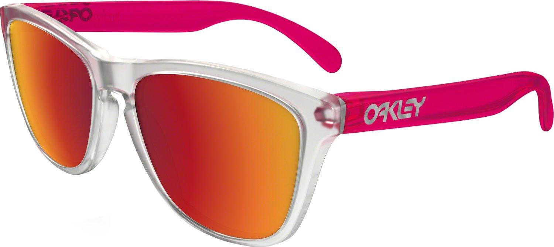 7b5aef9746 New Oakley Frogskins Colorblock Matte Clear Torch Iridium Sunglasses ...