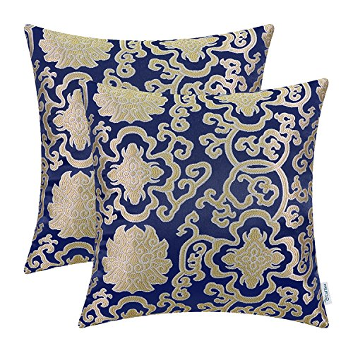 CaliTime Pack of 2 Soft Jacquard Throw Pillow Covers Cases for Couch Sofa Home Decoration Vintage Damask Floral Chain 18 X 18 Inches Navy Blue (Pillows Blue Royal Gold And)