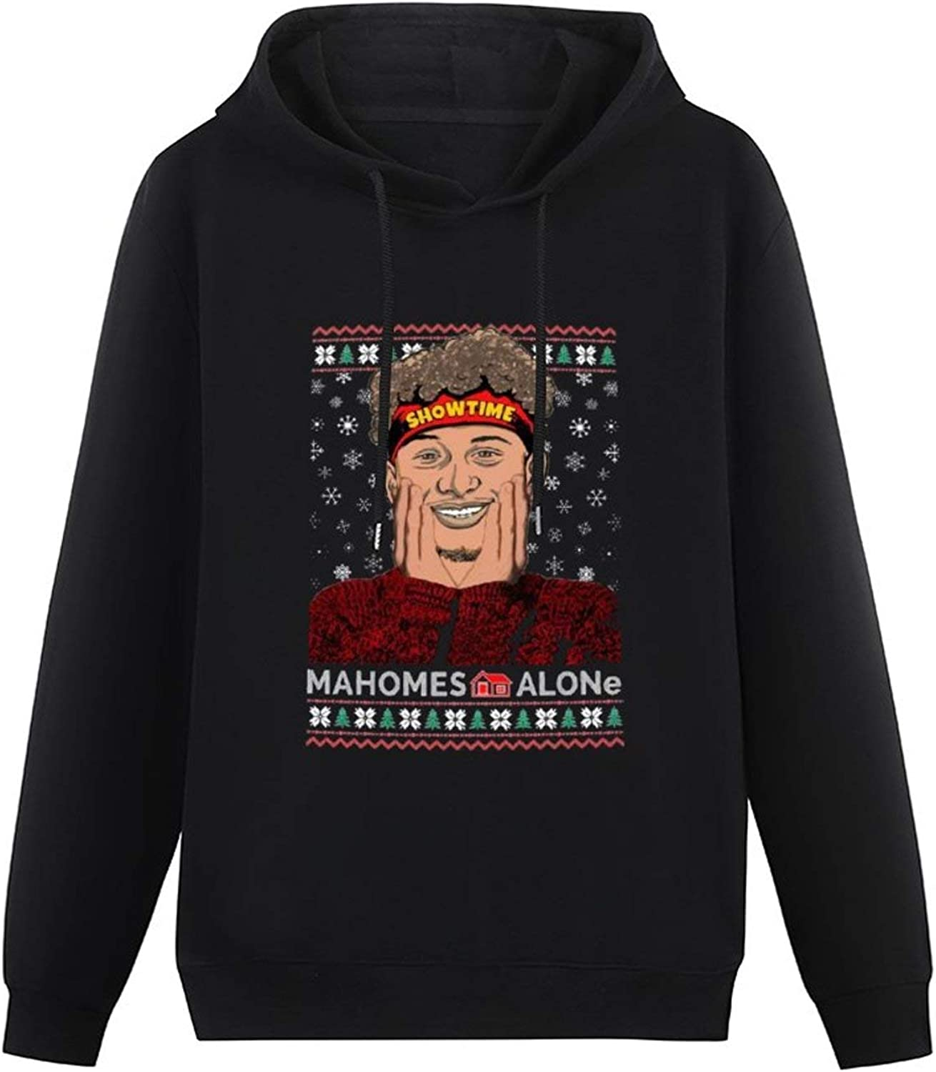 Patrick Ma-Homes Showtime Mahomes Alone Ugly Christmas Autumn and Winter Cotton Comfortable Hooded Sweater