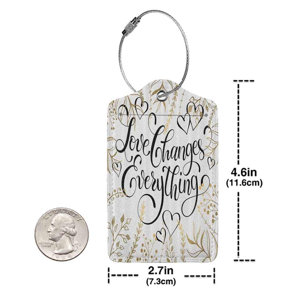 Soft luggage tag Romantic Golden Foliage Pattern Frame Style with Heart Shapes and Inspirational Quote Cloth Bendable Gold White Black W2.7 x L4.6