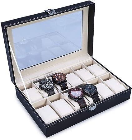 The perseids Cajas para Relojes, Estuche para Relojes, con 12 Compartimentos, Caja de presentación para 12 Relojes en PU Piel Sintética (Negro, 12 Ranuras): Amazon.es: Hogar