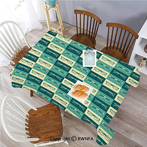 55 x 120 Inch Tablecloth Pattern with Eyeglasses in Vintage Hipster Cool Collection Polyester Spill-Proof Water Repellent Table Cover for Dinning Room Petrol Blue Turquoise Cream