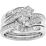Cotonie Women Round Diamond Ring Rhinestone Wedding Band Anniversary Rings Accessory