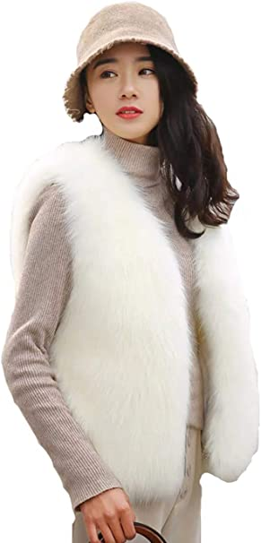 Skang Womens Autumn and Winter Solid Color Casual Faux Fur Vest Jacket Sleeveless Winter Warm Jacket Vest Vest