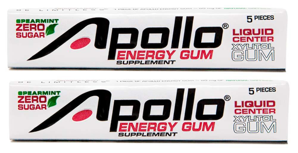 Apollo Energy Gum - Liquid Core Xylitol Gum - Sugar-Free, Aspartame-Free, Caffeinated Gum - Spearmint - 5 Pieces of Gum Per Pack (2 Pack) by Apollo Energy Gum