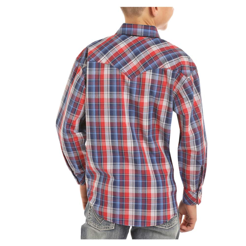 Small Rock /& Roll Cowboy Boys Blue Red Plaid Western Shirt