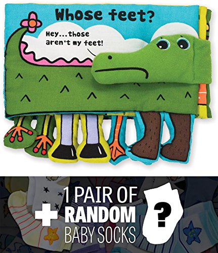 Whose Feet?: K's Kids Soft Activity Book Series + 1 FREE Pair of Baby Socks Bundle [92036]