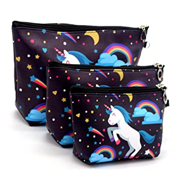 design intemporel f9ff8 e5f5d Freessom Lot de 3pcs Trousse De Maquillage Femme Fille Motif Licorne Hiboux  Flamant Kawaii Originale Pochette Portable Organiser Sac Cosmétique Voyage  ...