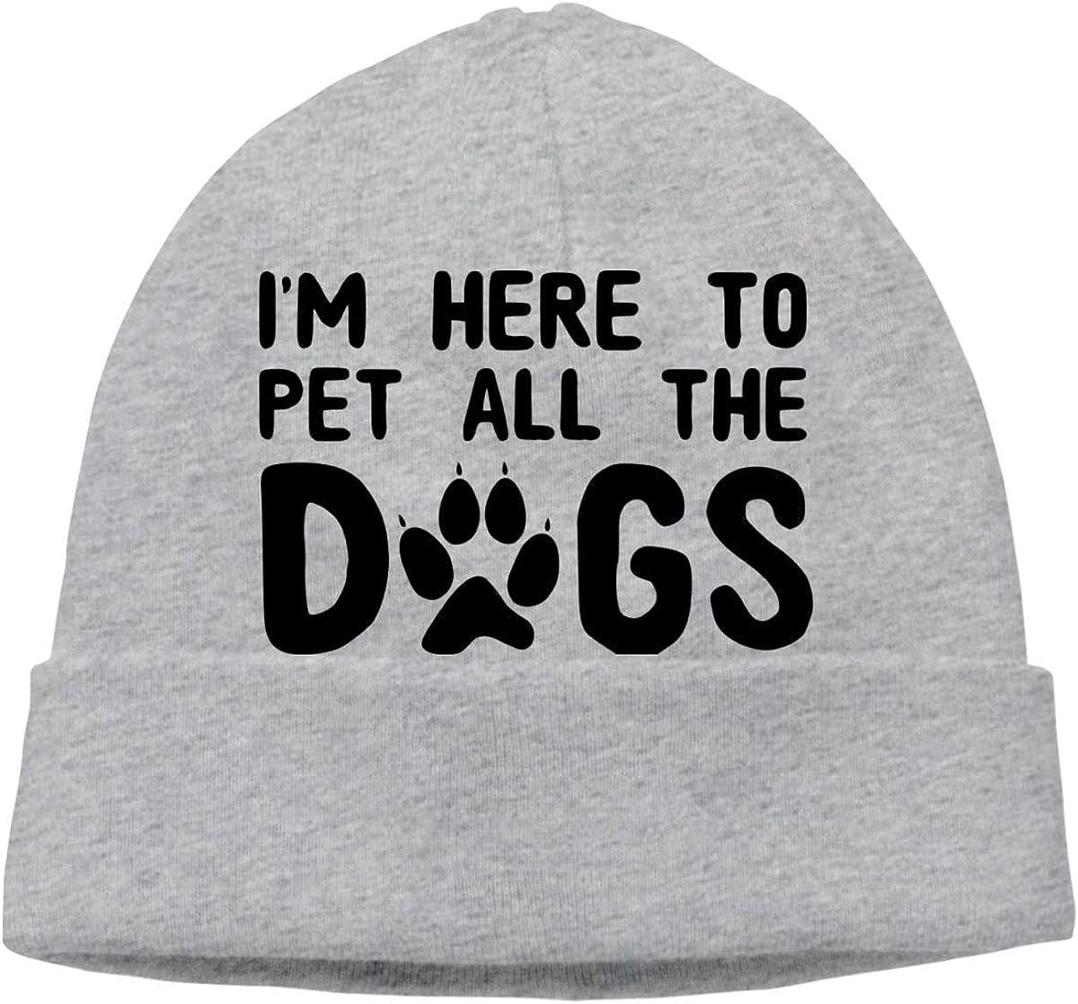 FOECBIR Im Here to Pet All The Dogs Thin Beanie Hat Skull Hats Men/&Women Slouchy Soft