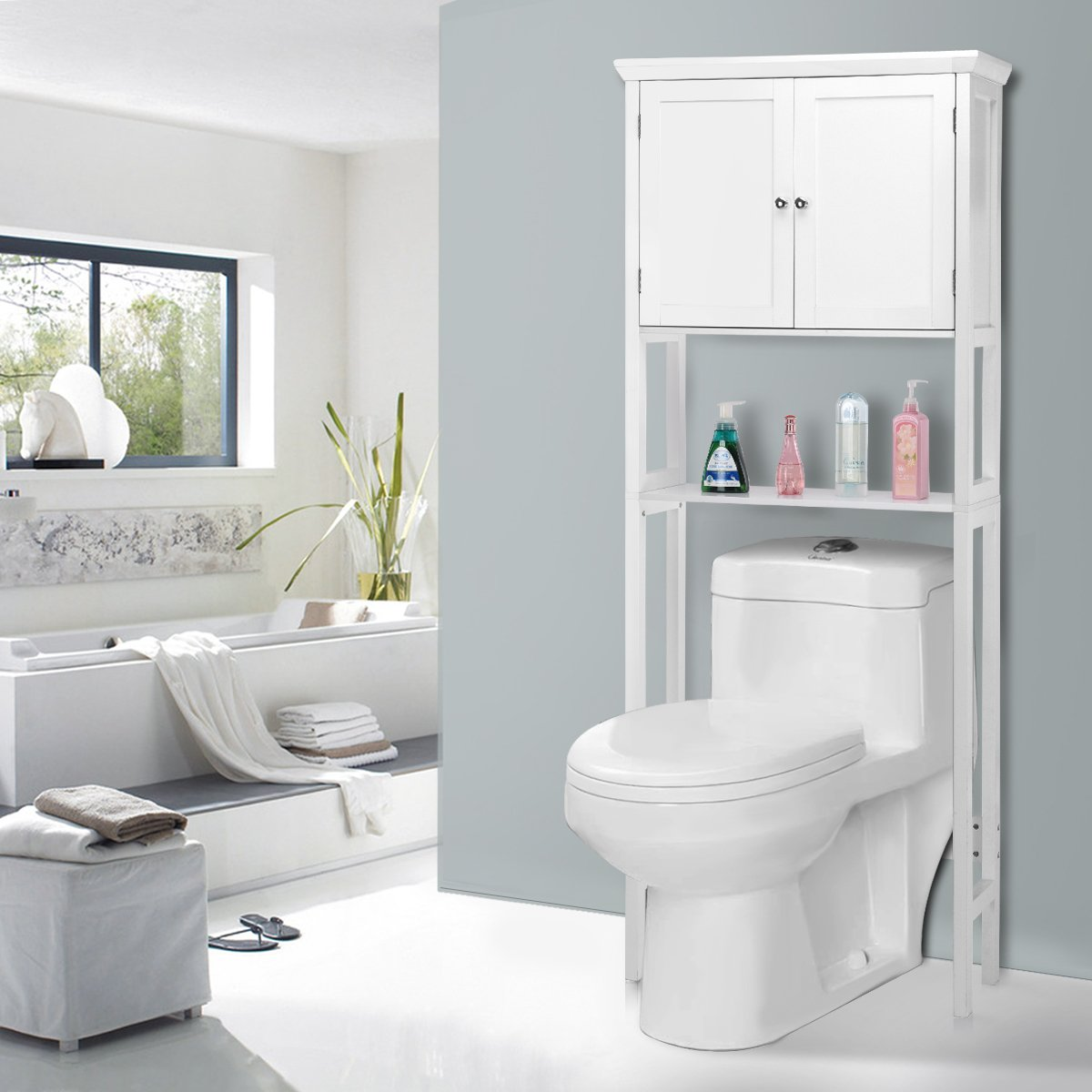 Giantex Over-the-Toilet Bathroom Storage Space Saver with Towel Rack Shelf Cabinet Collette, White