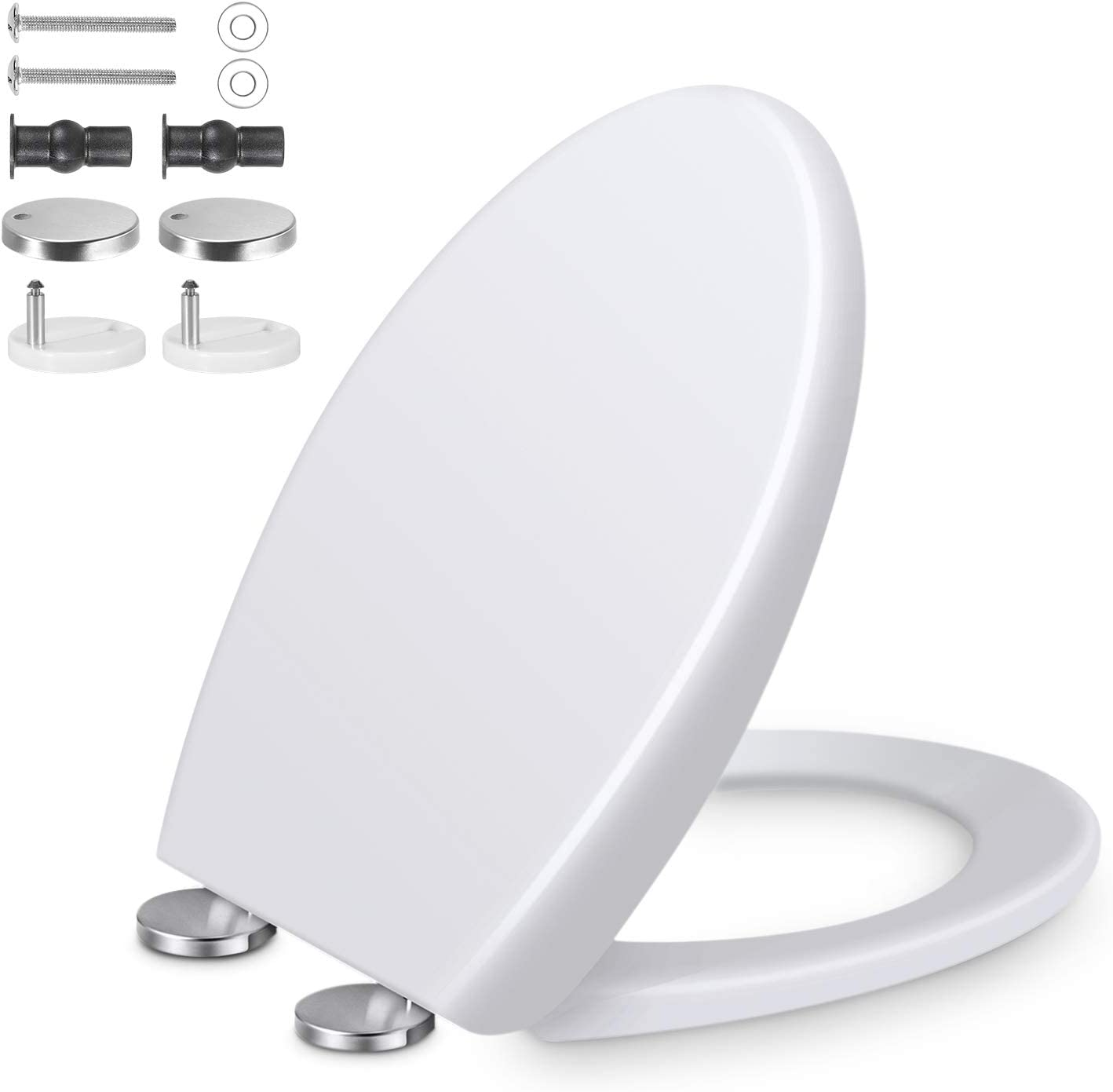 Toilet Seat Soft Close, Oval Toilet Seats Lid with Adjustable Stainless Hinges, Durable WC Loo Seat, Top Fixing, Easy Installation and Quick Release, PP Material, Fit Holes Distance 10-23cm