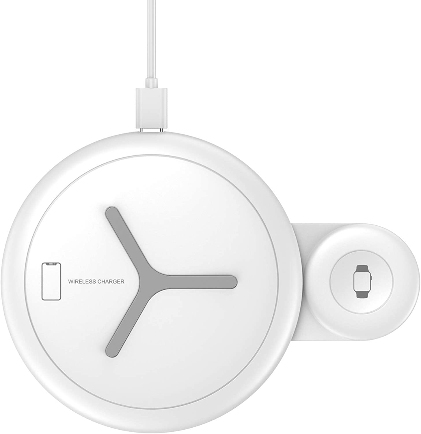 Nalwort 2 in 1 Wireless Charger Compatible with iPhone Apple Watch and AirPods Qi Charger Wireless Charging Station for iPhone 12/11 Series, iWatch 6/SE/5/4/3/2/1, AirPods 2/Pro(No Adapter) (White)