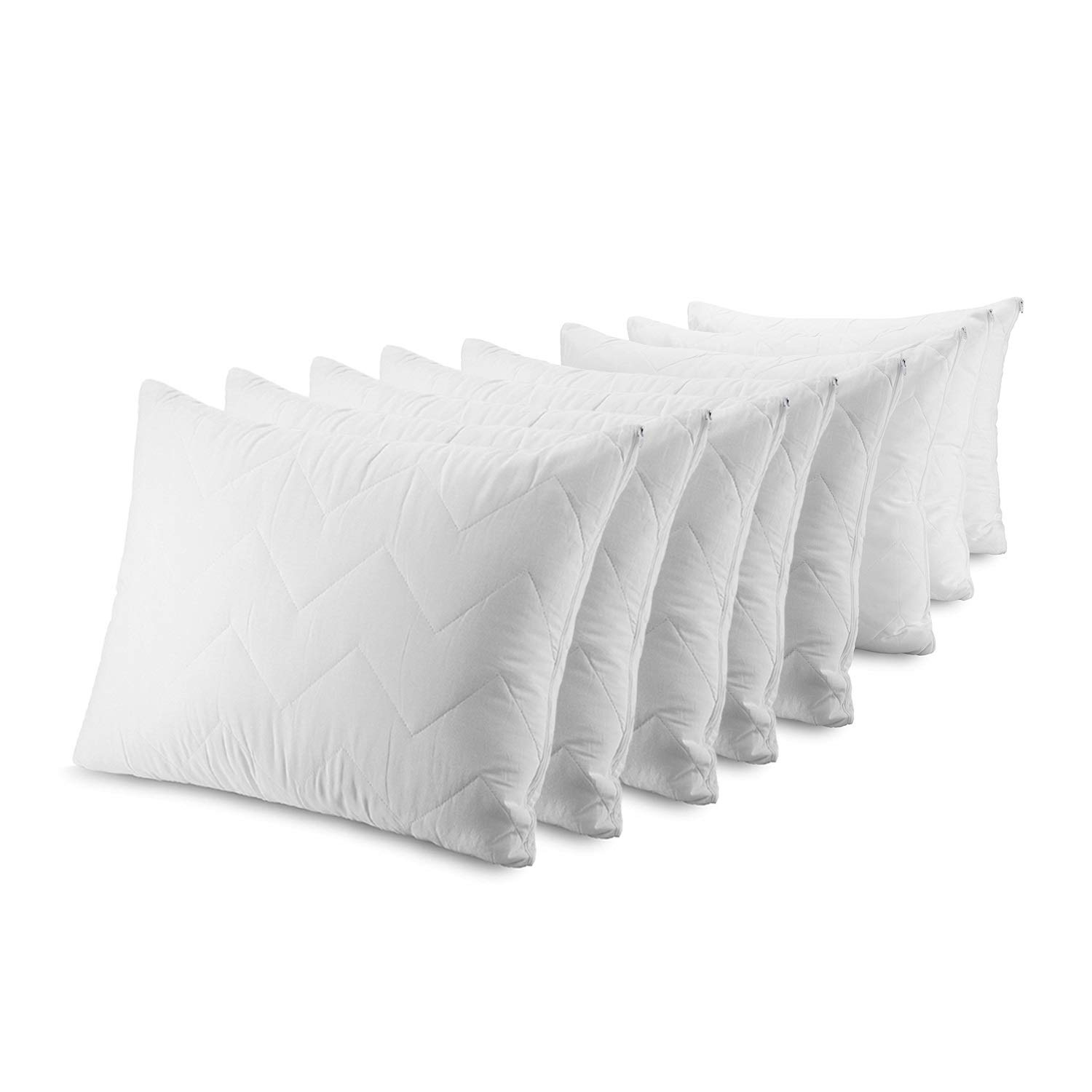 Waterguard Waterproof Pillow Protectors Bed Bug Control, Zippered Quilted, Thick Pillow Covers, (8 Pieces) 100% Cotton Top Pillow Encasement - Standard Size (20x26) Set of 8 by Waterguard