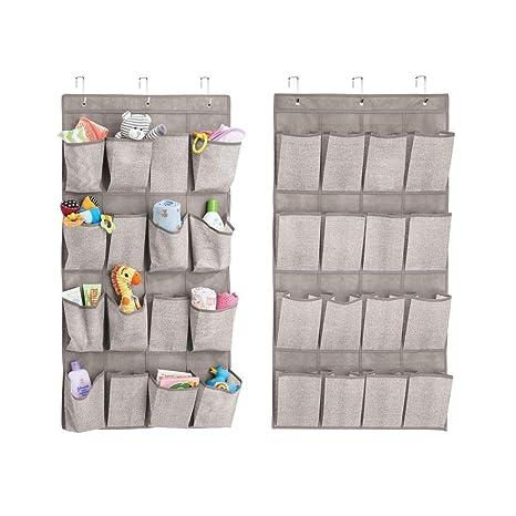 mDesign Juego de 2 armarios de Tela para Colgar – Práctico Organizador Colgante con 16 Bolsillos – Perchero de Puerta para artículos de bebé – Color: ...