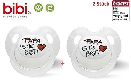 Bibi Basic Care Chupete nuggi (Papa Is The Best Pack de 2, a ...