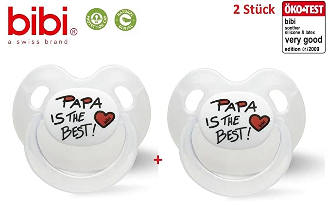Bibi Basic Care Chupete nuggi (Papa Is The Best Pack de 2, a ...