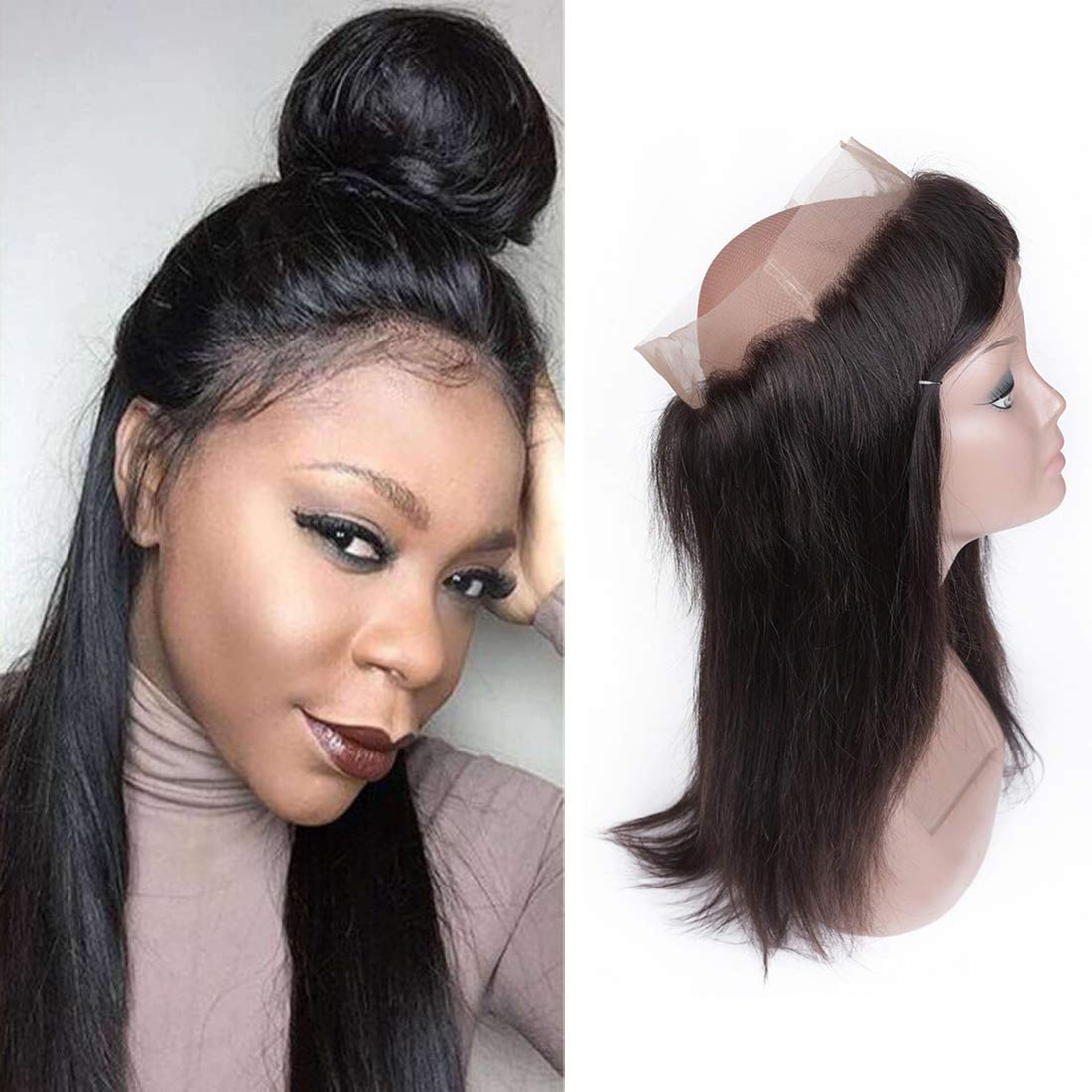 360 Lace Closure with Baby Hair Brazilian Body Wave Hair Virgin Remy Human Hair 360 Frontal Lace Closure Free Part Natural Black Colour (16 inches, body wave hair) Quentina