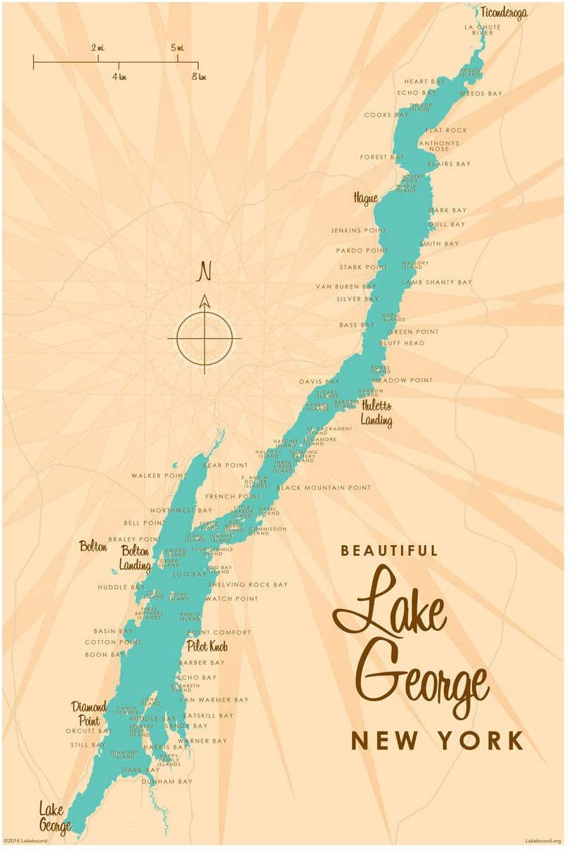 """Lake George New York Map Giclee Art Print Poster by Lakebound 12"""" x 18"""""""