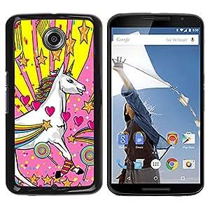 Design for Girls Plastic Cover Case FOR NEXUS 6 / X / Moto X Pro Unicorn Dreamworld Colorful Art White Heart Star OBBA