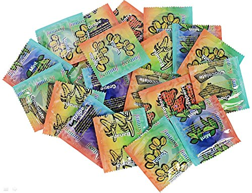 Fantasy Flavored Condoms Pack 48 Condoms : Variety of Flavors Such As Vanilla, Strawberry, Mint, Grape, Chocolate, and Banana. [The Random Fun That You Will Not Know Until You Have Used.]