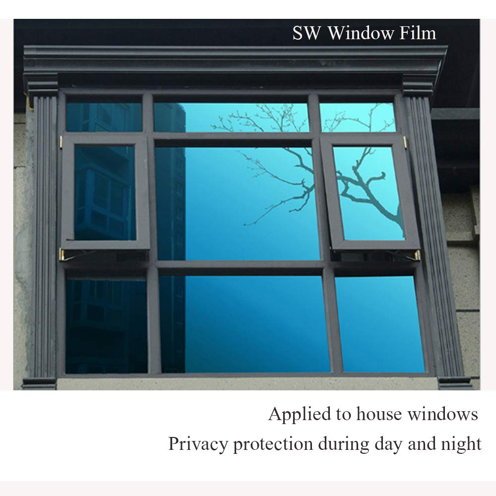 SW Privacy Window Film One Way Mirror Adhesive Film Heat Control Anti UV Window Glass Tint Blue Silver 60 x 17.7