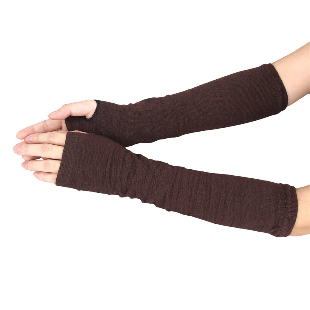 haoricu Women Gloves, Fashion Winter Wrist Arm Mitten Hand Warmer Long Fingerless Knitted Gloves (Coffee)