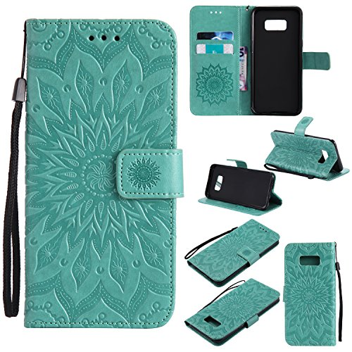 Price comparison product image Galaxy S8 Wallet Case,A-slim Totem Sun Floral Flower Pattern Embossed PU Leather Magnetic Flip Cover Card Holders & Hand Strap Wallet Purse Case for Samsung Galaxy S8 - Green