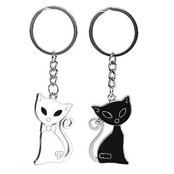 LGJJJ 1 par Pareja Llavero Creative Gato Blanco y Negro Gato ...