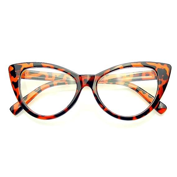 Ojo De Gato Super Gafas Gafas De Lentes Moda Vintage Mod Claro (Marrón): Amazon.es: Ropa y accesorios