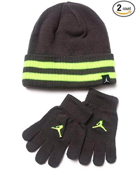 0fe406d5f3d Image Unavailable. Image not available for. Color  Nike Jordan Boys Winter  Cuffed Beanie   Gloves Set Size   Youth 8 20