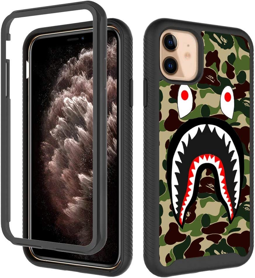 GUGU6JI iPhone 11 Cases,Fashion Army Green Shark Design Heavy Duty Shockproof Rugged Protection Cover Dual Layer Soft TPU + Hard PC Bumper Full-Body Protective Case for Apple iPhone 11 (6.1Inch) 2019