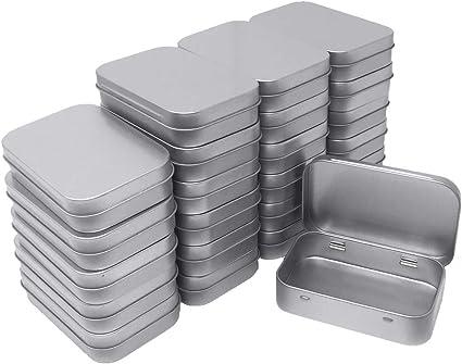 Rectangular Empty Tin Box Silver Metal Containers Storage Organization Supplies